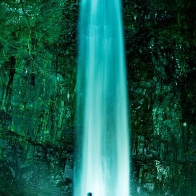 ライトアップされた玉簾の滝に見入る観光客の写真