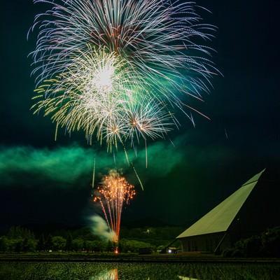 田んぼに映る早苗饗(さなぶり)の打ち上げ花火の写真