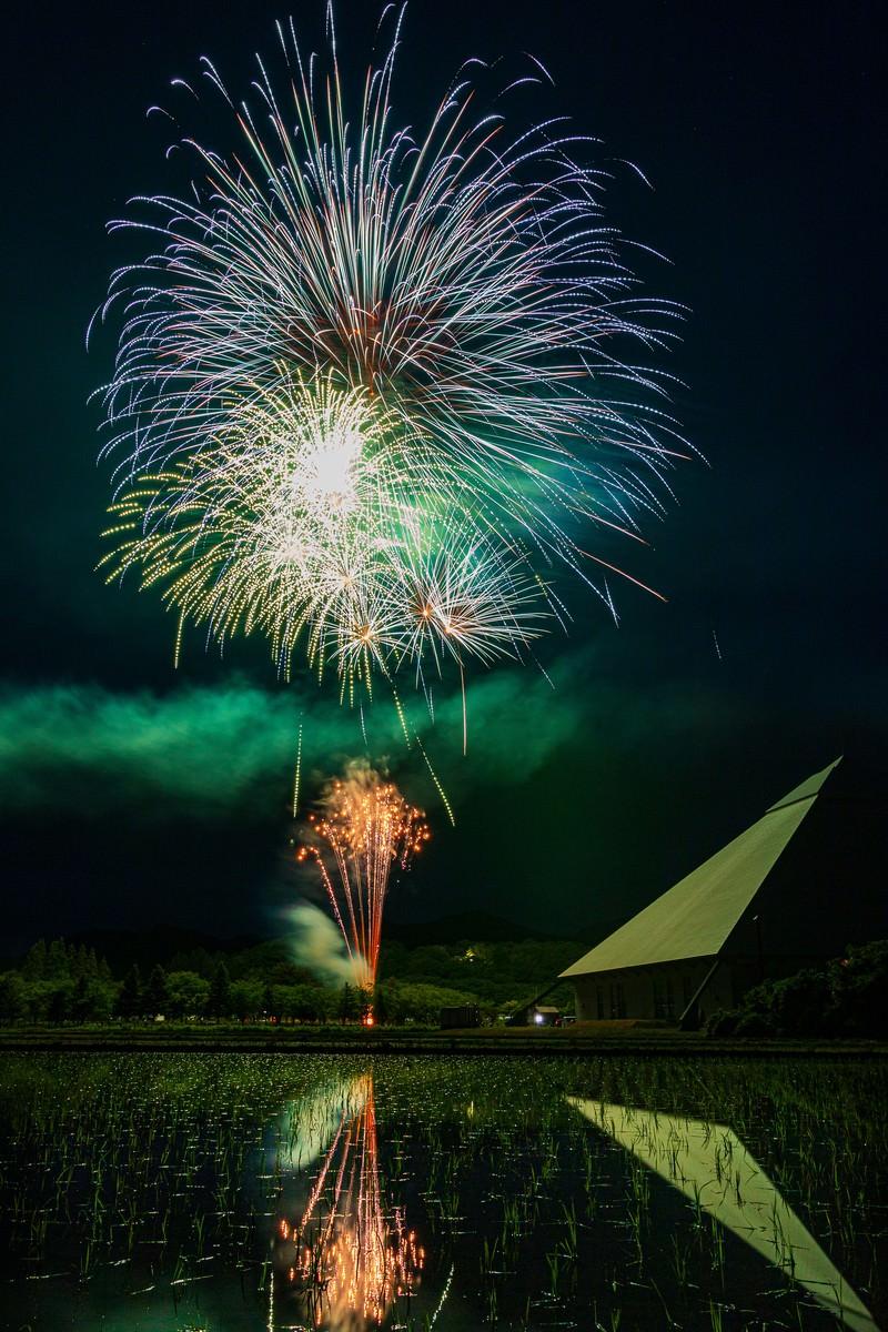 「田んぼに映る早苗饗(さなぶり)の打ち上げ花火」の写真