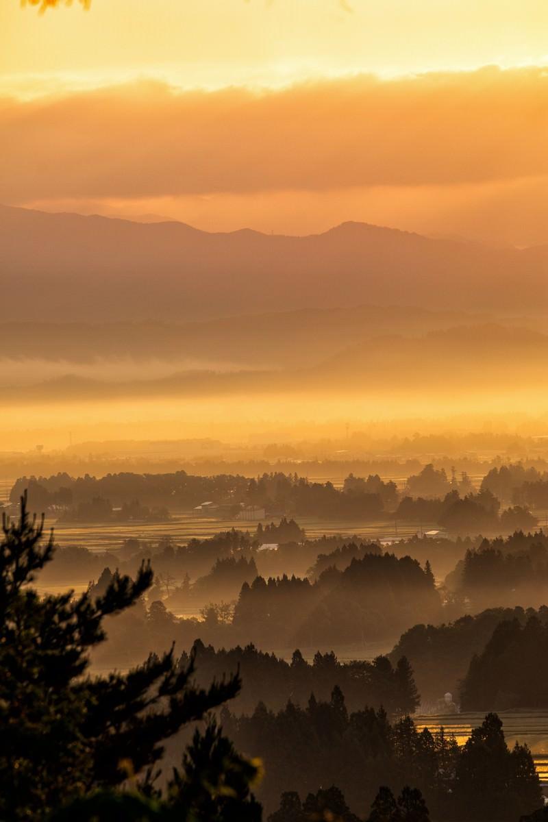 「朝日に染まる朝霧残る街並み朝日に染まる朝霧残る街並み」のフリー写真素材を拡大