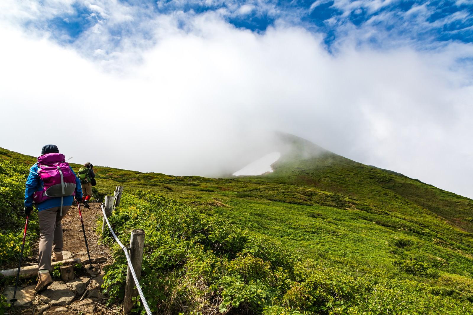 「沸き立つ雲の中へと進む登山者(秋田駒ケ岳)」の写真
