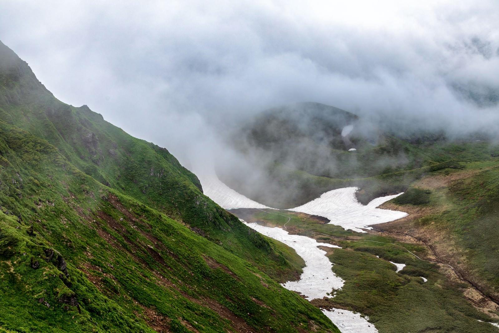 「ムーミン谷に立ち込める霧(秋田駒ヶ岳)」の写真