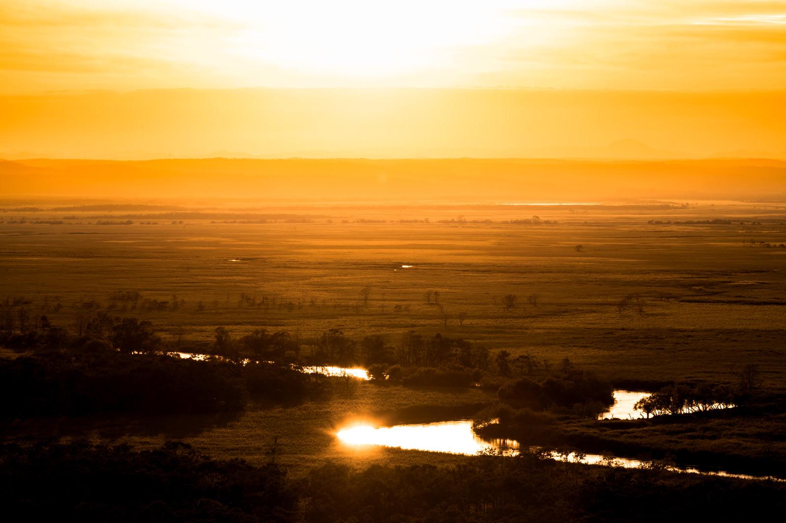 「釧路湿原の夕景」の写真