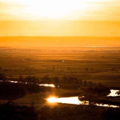 釧路湿原の夕景の写真