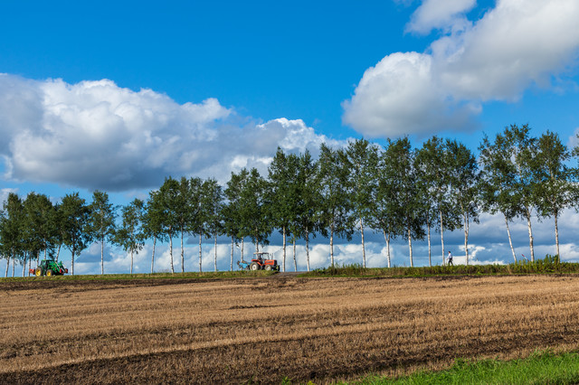 耕された畑とトラクターの写真