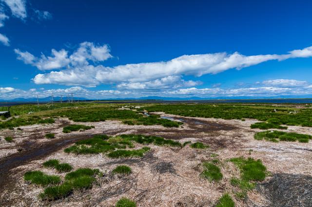 日本最大の砂嘴(野付半島)の写真
