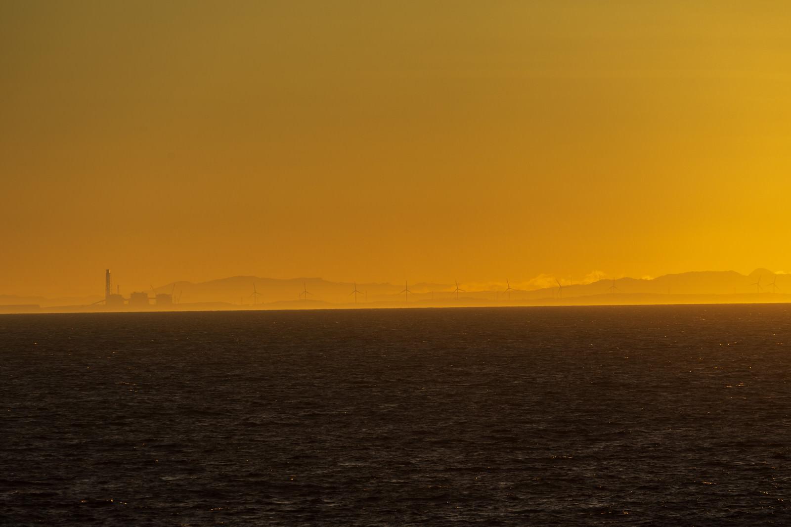 「朝靄の中に浮かびあがる風車群」の写真