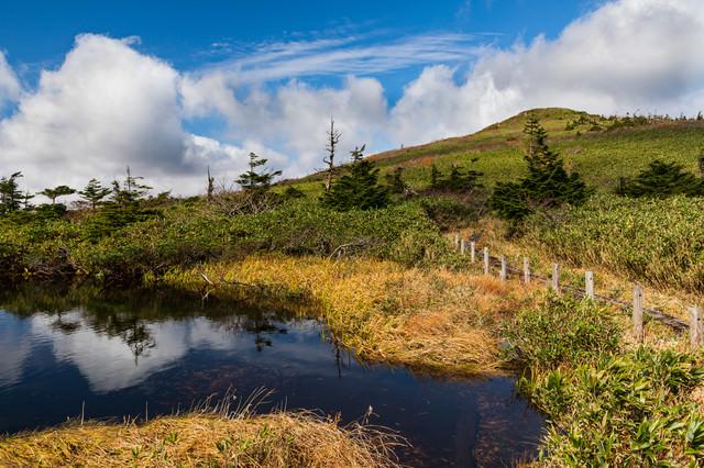 空が反射する沼沿いの遊歩道(八幡平)の写真