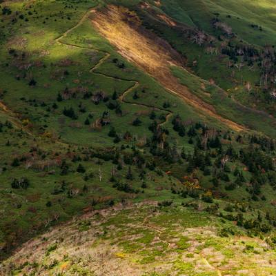 雲の陰に覆われる急登な登山道の写真
