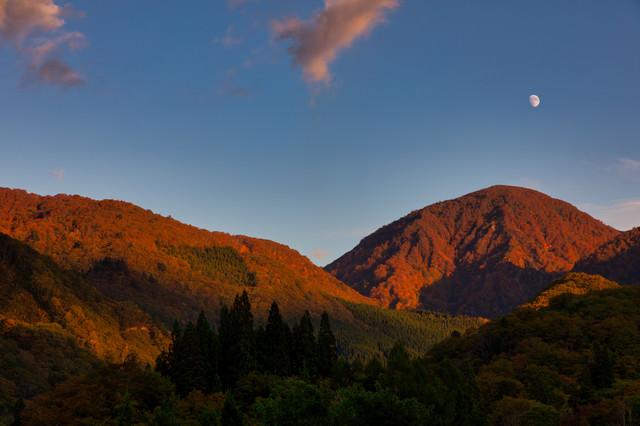 夕暮れに染まる紅葉した山と空に浮かぶ月の写真