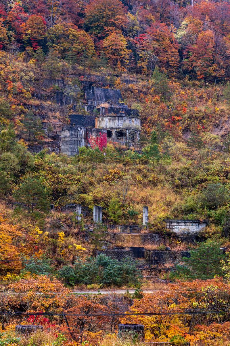 「黄葉した山と廃墟(土畑鉱山跡)」の写真