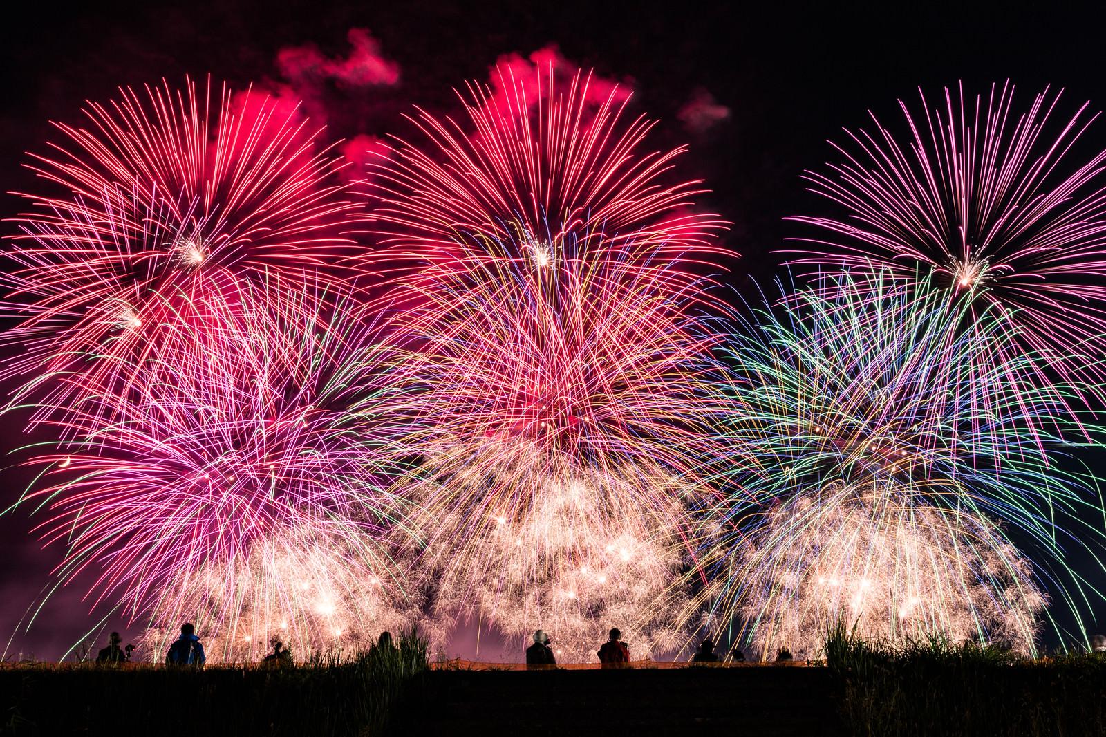 「土手から見る大曲の花火(秋田県大仙市)」の写真
