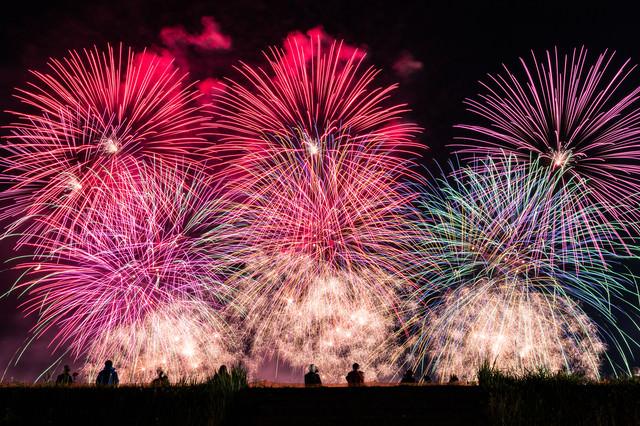 土手から見る大曲の花火(秋田県大仙市)の写真