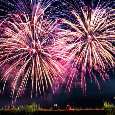 大曲の打ち上げ花火(秋田県大仙市)の写真