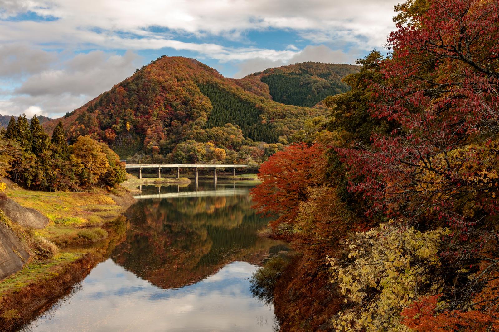 「紅葉した木々とダム湖に反射する山々と鉄橋」の写真