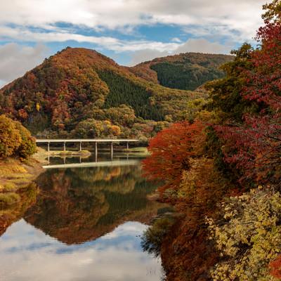 紅葉した木々とダム湖に反射する山々と鉄橋の写真