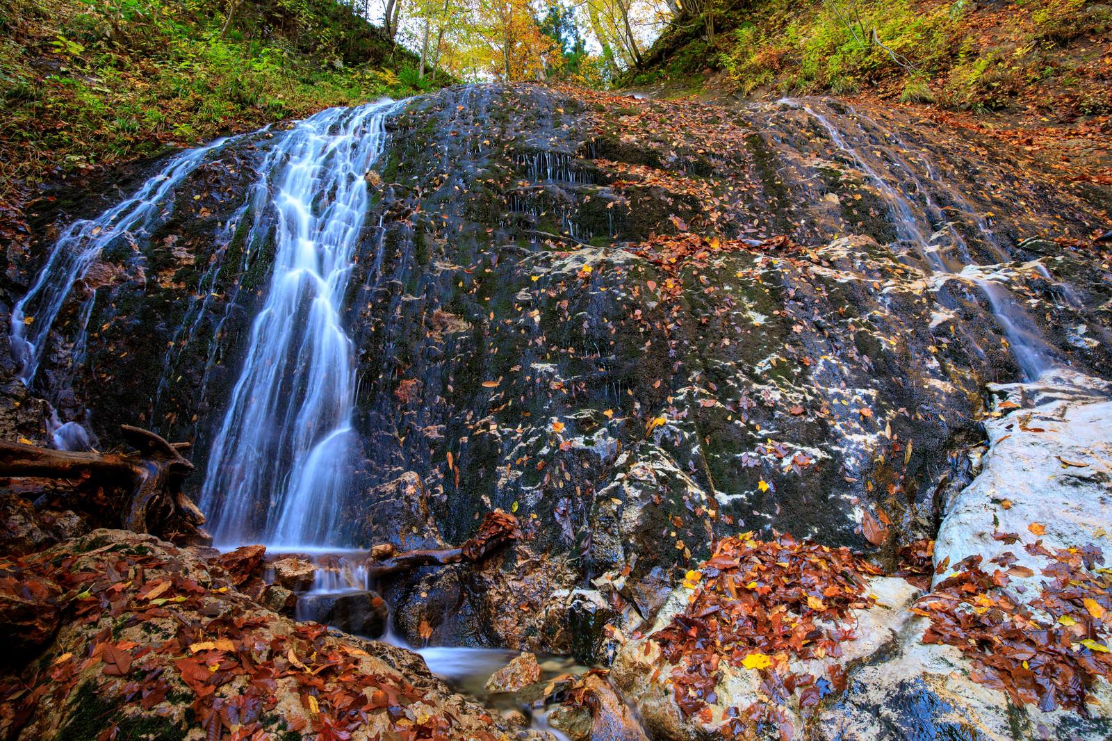 「渓流の小さな滝から流れる水と落ち葉」の写真