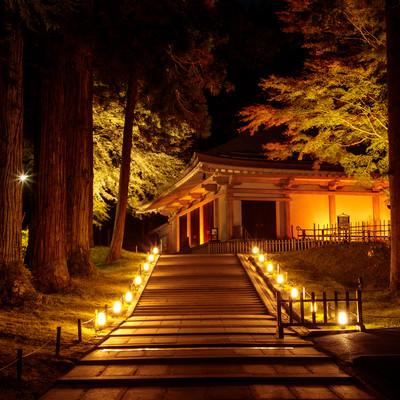 ライトアップされた階段の上にある中尊寺金色堂の写真