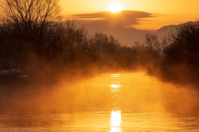 立ち上がる蒸気霧と朝日の写真