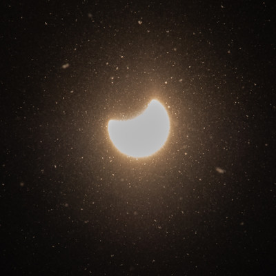粉雪と日食現象の写真