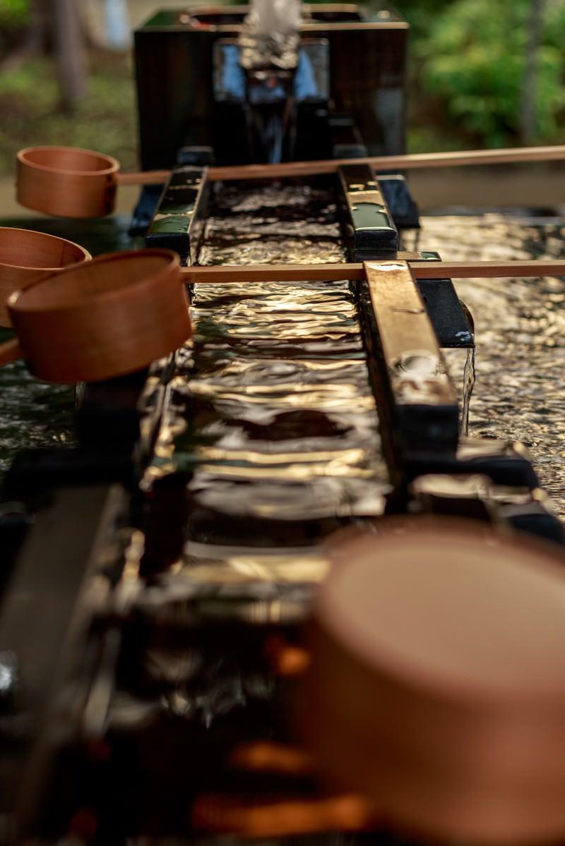 「神社の手水舎」の写真