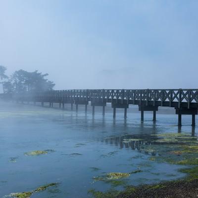 「海霧に包まれる渡り橋」の写真素材