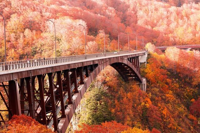 城ヶ倉大橋と紅葉の写真