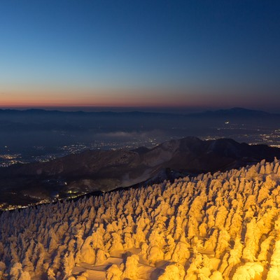 樹氷と街の夜景の写真