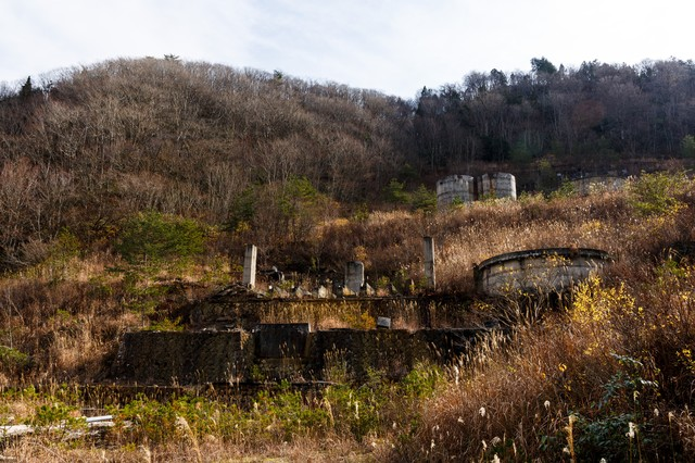 荒れ果てた土畑鉱山跡の写真