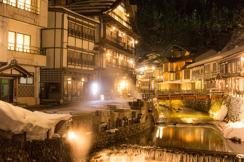 夜の銀山温泉の写真 画像 フリー素材 ぱくたそ