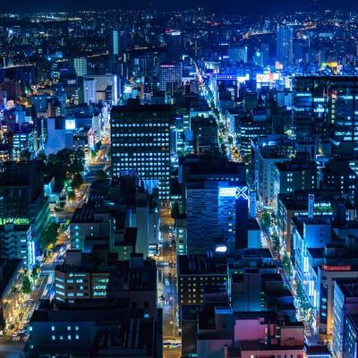 「札幌の街並み(夜景)」の写真素材