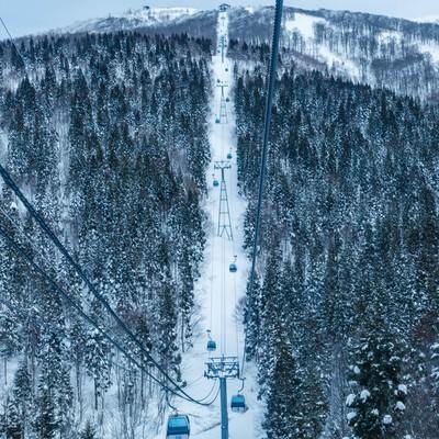 スキー場のゴンドラの中からの写真