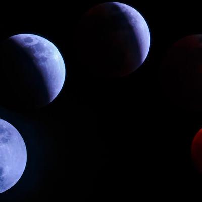 うつりゆく満月(皆既月食)の写真