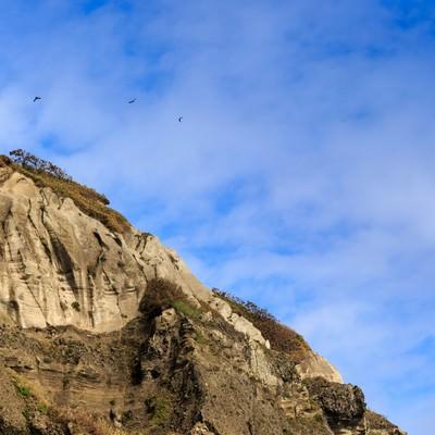 イタンキ浜の断崖の写真