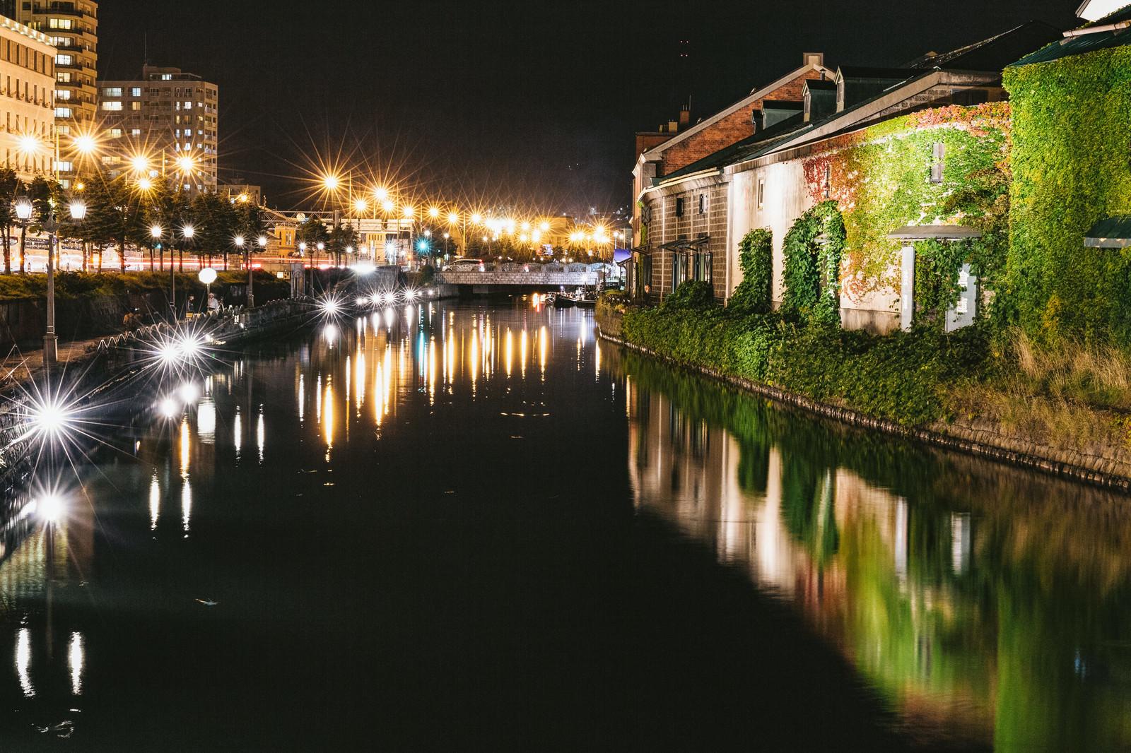 「小樽東運河(夜景)小樽東運河(夜景)」のフリー写真素材を拡大