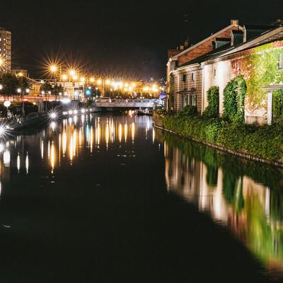 「小樽東運河(夜景)」の写真素材
