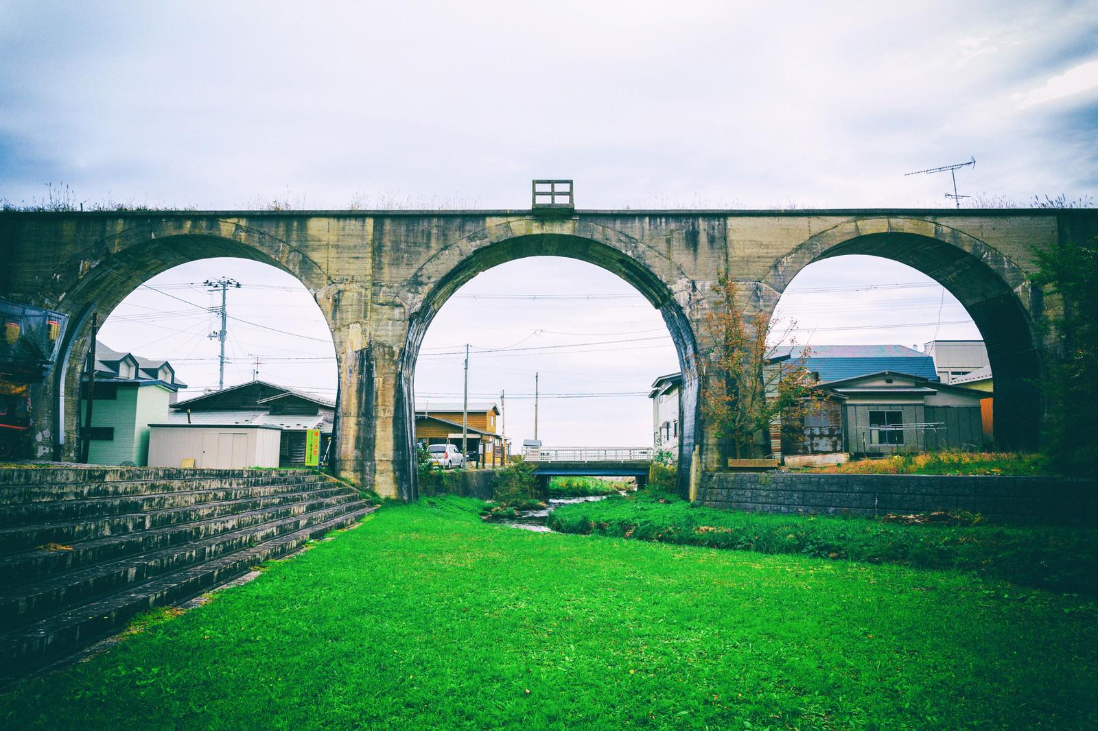「幻の大間鉄道のめがね橋」の写真