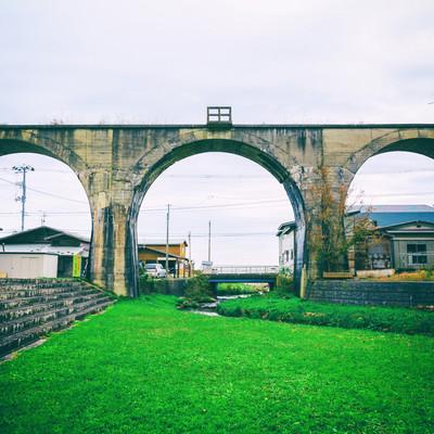 「幻の大間鉄道のめがね橋」の写真素材