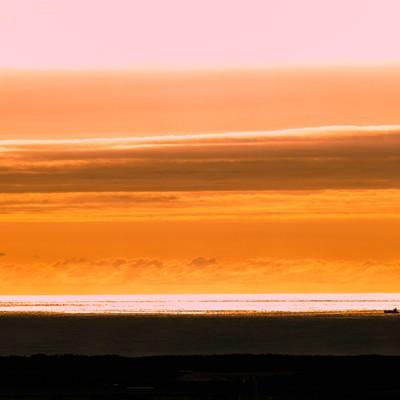 「日本海の夕暮れ」の写真素材
