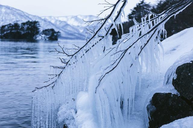 十和田湖のしぶき氷の写真