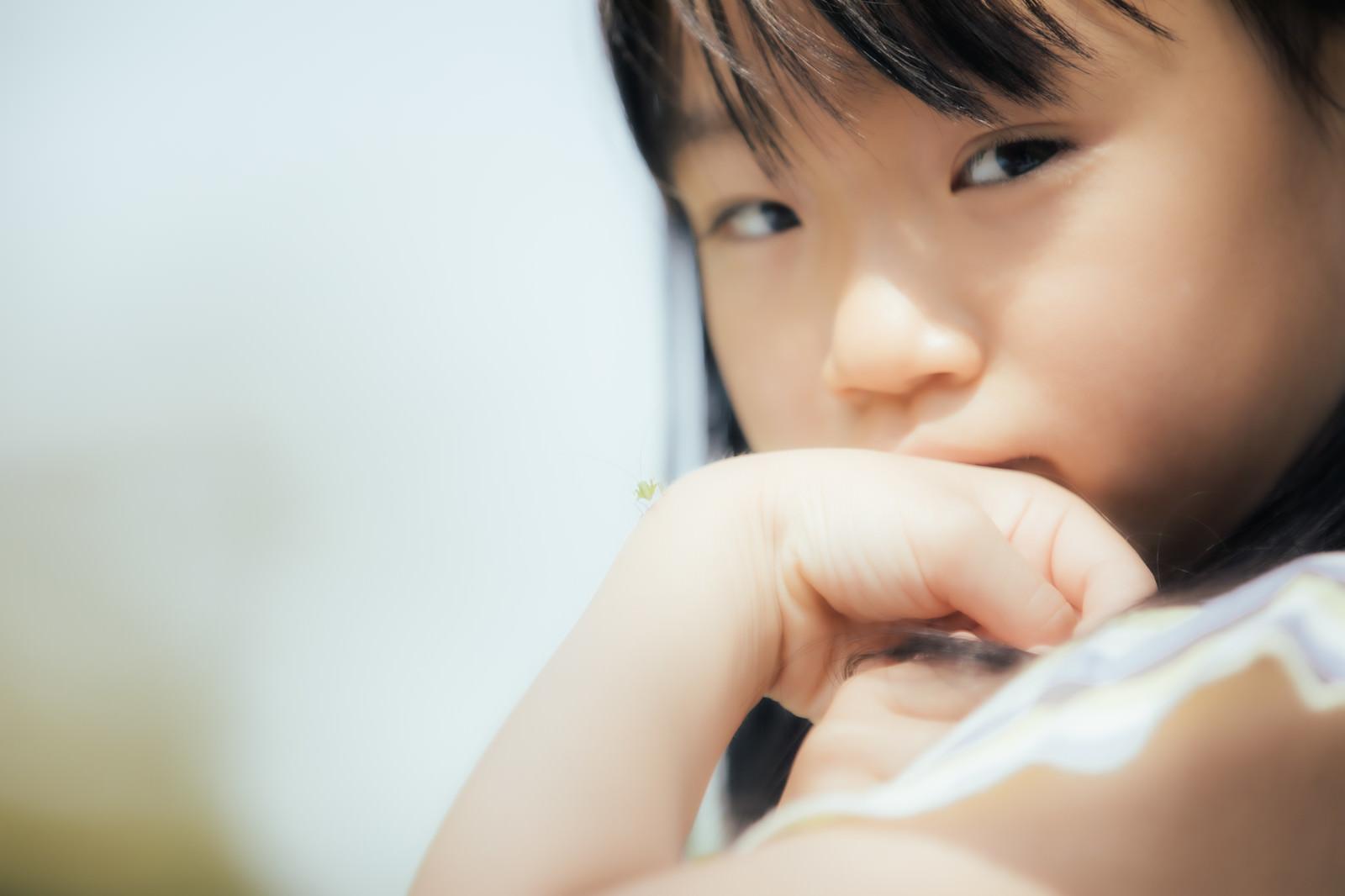 「バッタの赤ちゃんを手首に乗せる少女」の写真[モデル:あんじゅ]