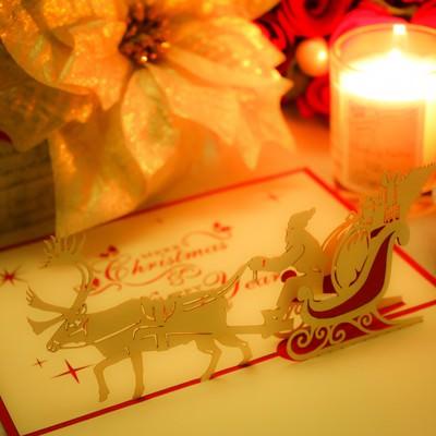 「サンタクロースのクリスマスカード」の写真素材