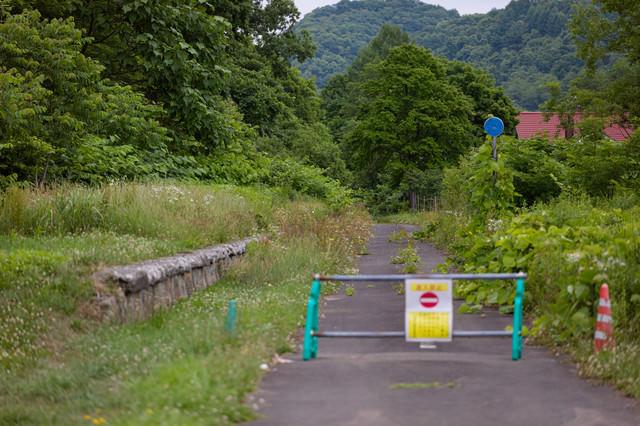 進入禁止の道の写真
