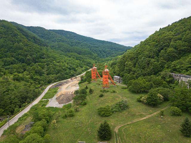 炭鉱メモリアル森林公園(空撮)の写真
