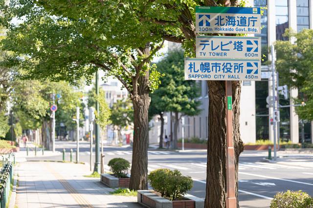 大通公園付近の歩道に設置してある指導標識の写真