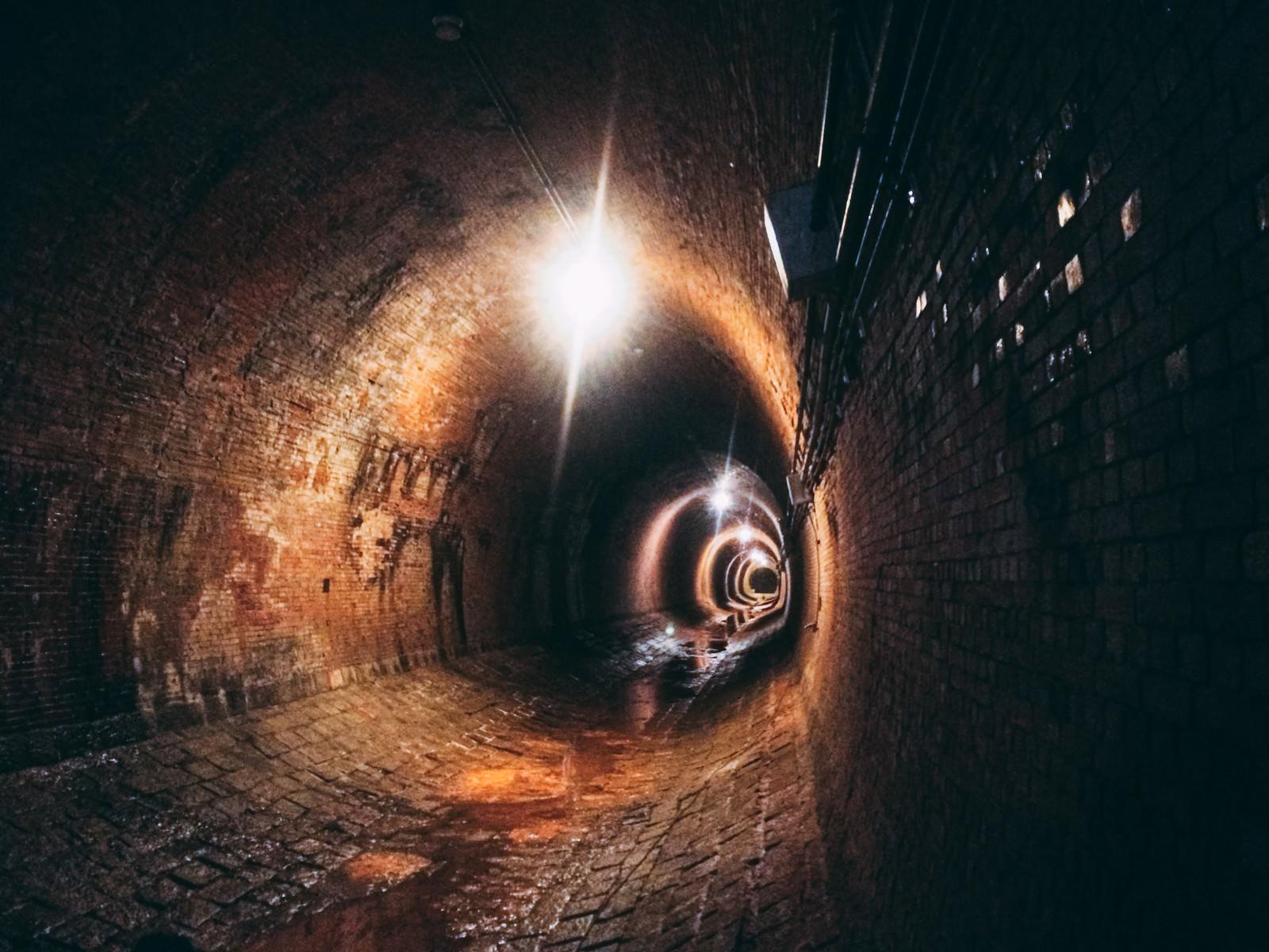 「奥から巨大なワニが襲ってきそうな湿ったトンネル内(湊川隧道)」の写真
