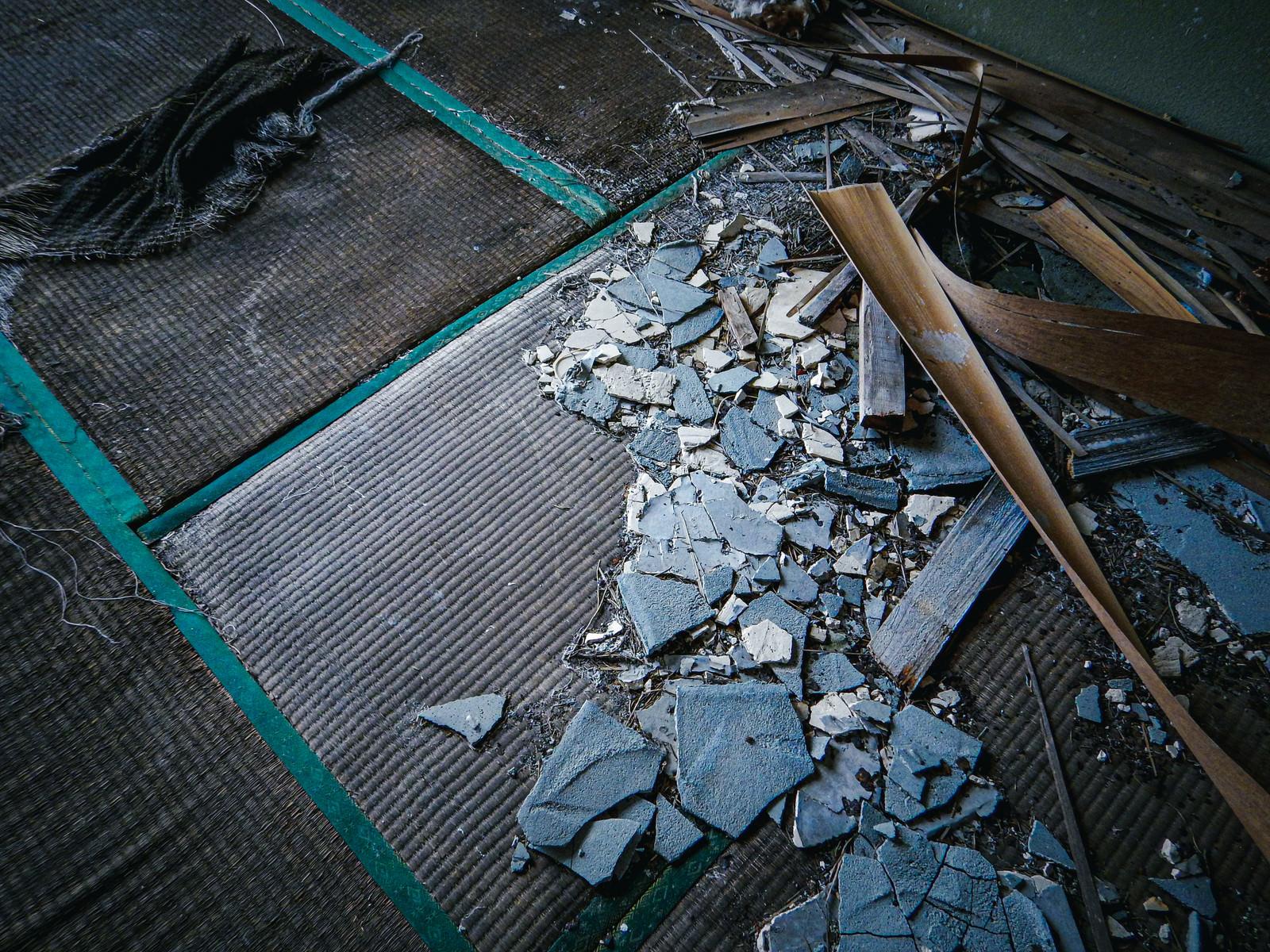 「野ざらしの畳とコンクリート片」の写真
