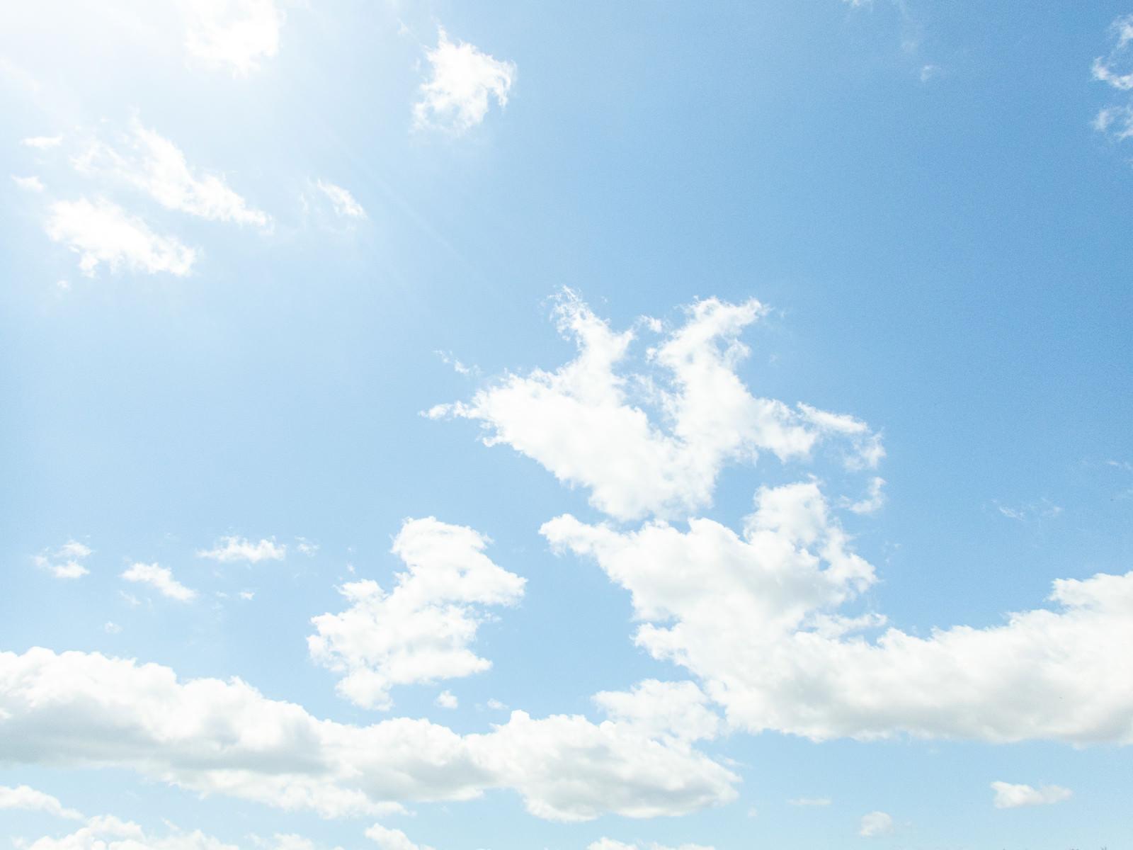 「頭上の太陽と澄んだ青空」の写真