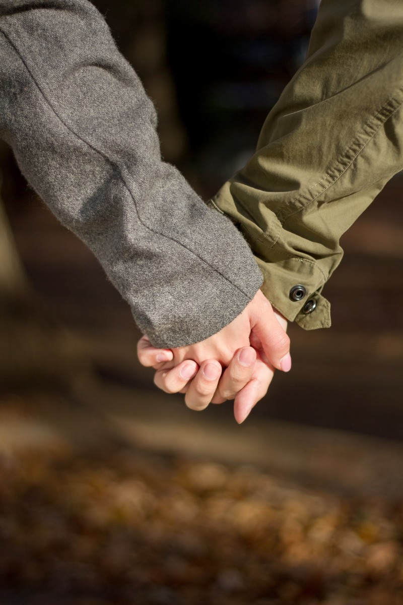「手を握り合う恋人」の写真