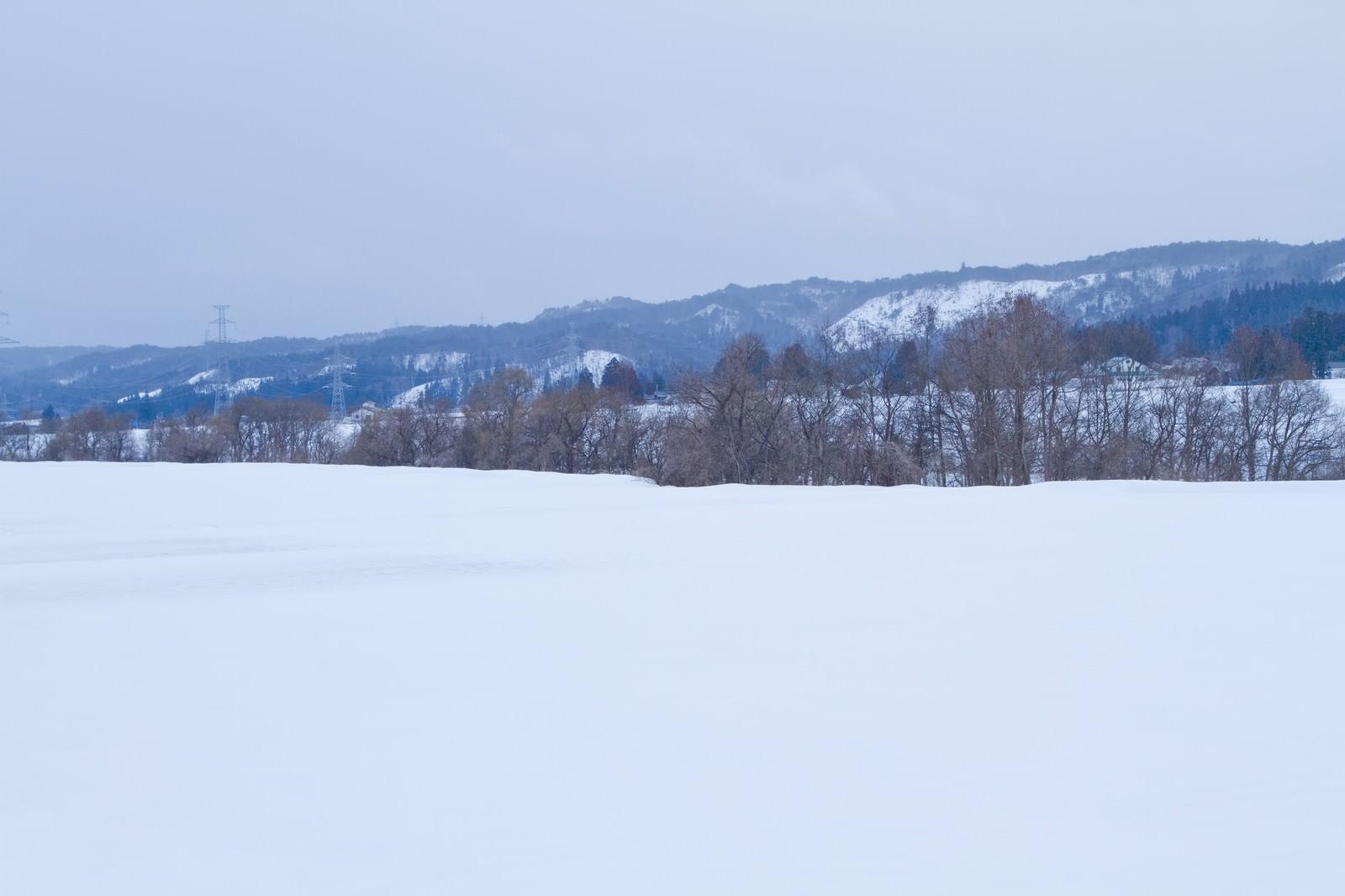 「雪と山々」の写真